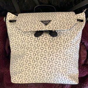 NWOT black and white guess mini backpack